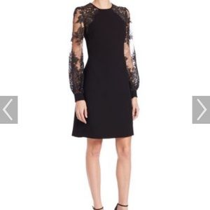 Kay Unger Lace Sleeve Sheath Cocktail Dress